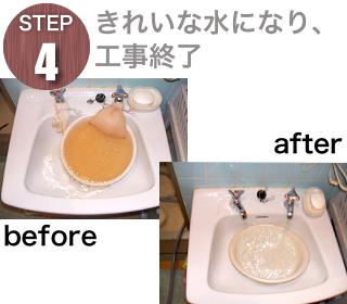 STEP4 赤水がなくなり水がきれいになったら工事終了